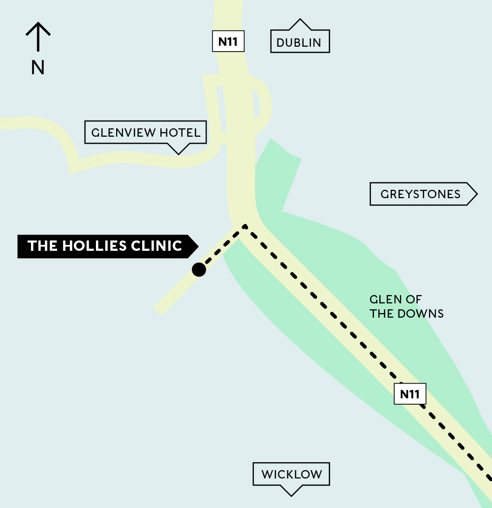 Directions to The Hollies, Glen of the Downs, Greystones Clinic